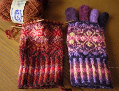 フェアアイルのメンズ手袋、製作中
